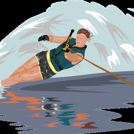 water skiing in winter